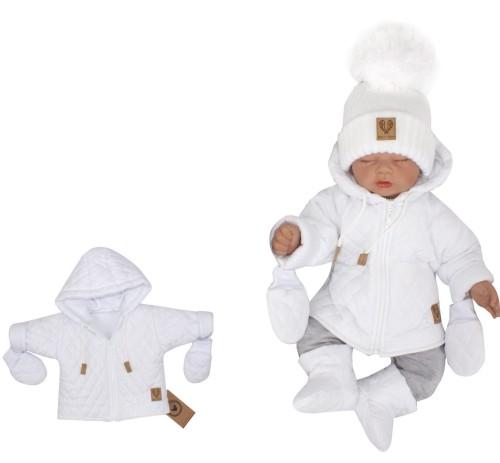 Zimowa ocieplana kurtka pikowana+rękawiczki 56 86 biała